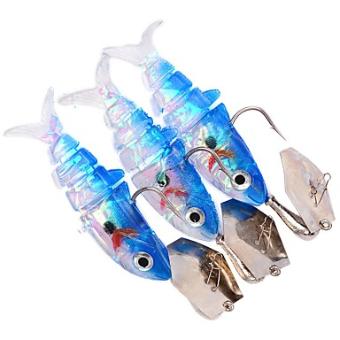 3 pcs Soft Bait Fishing Lures Soft Jerkbaits Shad Jig Head Lure Packs Soft Bait g / Ounce, 120 mm / 4-3/4