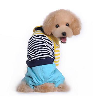 Hund Kjeledresser Hundeklær Stribe Rød Blå Bomull Dun Kostume For kjæledyr Herre Dame Fritid / hverdag