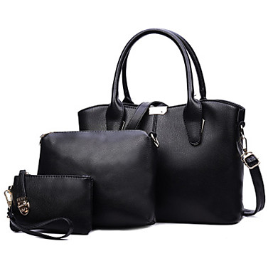 Women's Bags PU Tote 3 Pcs Purse Set for Casual Office & Career All Seasons Blue Black Red Beige Wine