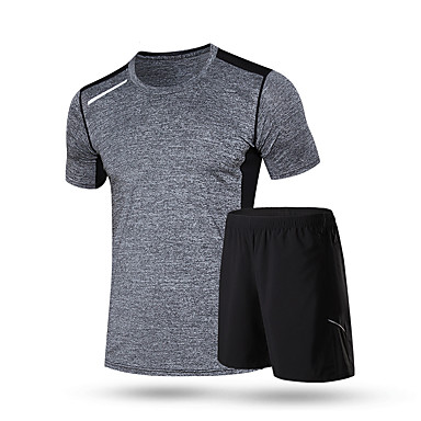 Men's Running T-Shirt with Shorts Short Sleeves Quick Dry Running Clothing Suits for Running/Jogging Exercise & Fitness Loose Black+Gray