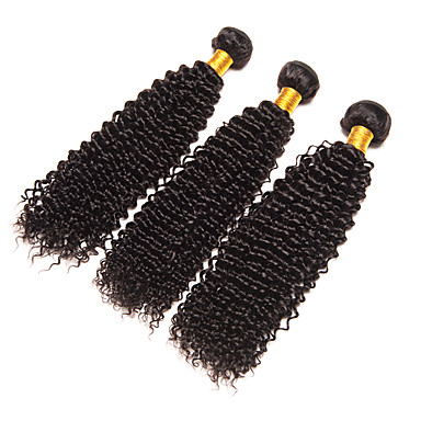 Brazilian Curly Weave Kinky Curly Human Hair Weaves 3 Pieces 0.3