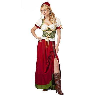 Oktoberfest Bayerisch Cosplay Kostüme Party Kostüme Damen Sexy Uniformen Hausmädchenuniform Halloween Karneval Oktoberfest Fest / Feiertage Halloween Kostüme Austattungen Rot Solide