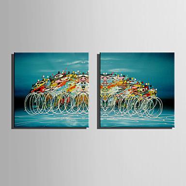 Maalattu Abstrakti Neliö, Retro Kangas Hang-Painted öljymaalaus Kodinsisustus 2 paneeli