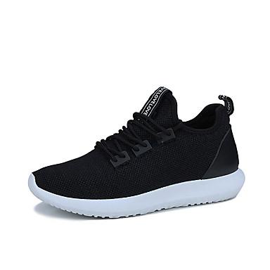 Miesten kengät Kumi Kevät Syksy Comfort Urheilukengät Jouksu Solmittavat varten ulko- Valkoinen Musta Tumman sininen