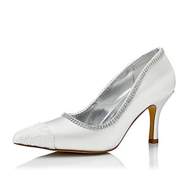 Mulheres Sapatos Seda Inverno Outono Conforto Saltos Salto Agulha Dedo Apontado para Casamento Social Festas & Noite Ivory