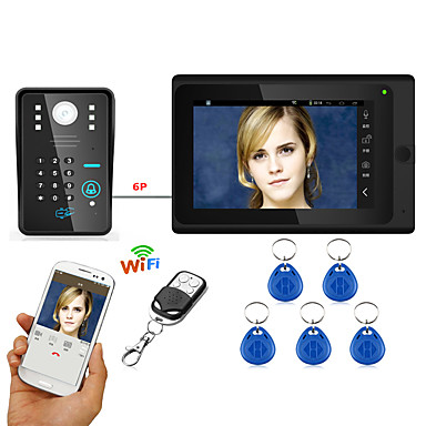 7inch com fio / sem fio wifi rfid senha video porta telefone campainha intercom sistema upport remoto app desbloqueio gravação instantâneo