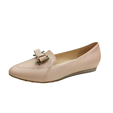 Women's Shoes Leather Spring / Fall Formal Shoes Flats Flat Heel Pointed Toe Bowknot White / Pink / Light Green