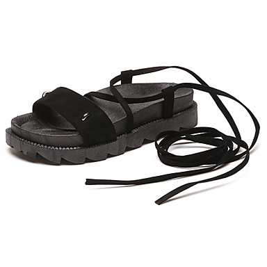 Mulheres Sapatos Borracha Verão Conforto Sandálias Caminhada Creepers Cadarço Preto