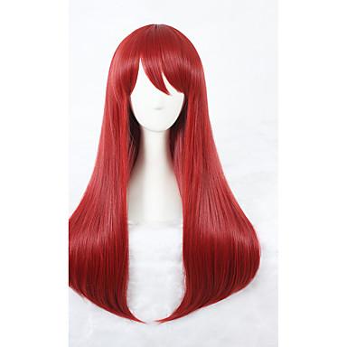 Szintetikus parókák Női Egyenes Piros Szintetikus haj Piros Paróka Közepes Sapka nélküli Piros