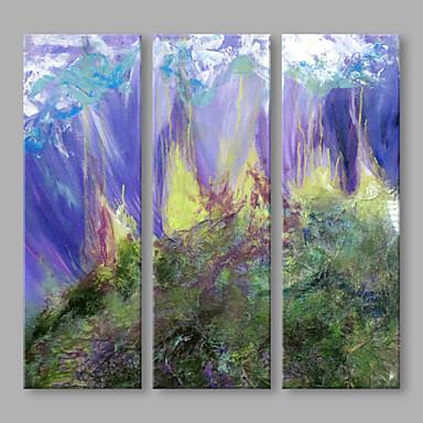 Pintados à mão Paisagem Panorâmico vertical, Artistíco Abstracto Tela de pintura Pintura a Óleo Decoração para casa 3 Painéis