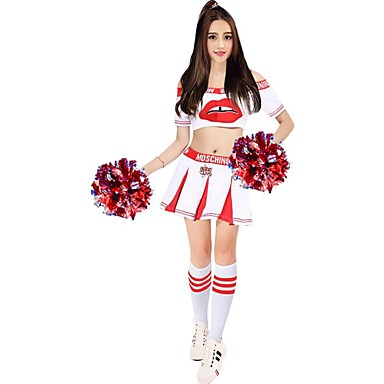 Cheerleader Costumes Outfits Women's Performance Polyester Pattern/Print Splicing Short Sleeve High Skirts Tops