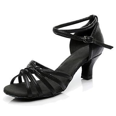 Women's Latin Shoes Synthetic Microfiber PU Heel / Sneaker Customized Heel Customizable Dance Shoes Black / Performance