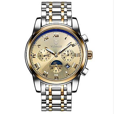 baratos Relógios Homem-Tevise Homens Mulheres Casal Relógio Esportivo Relógio de Moda Relógio Esqueleto Automático - da corda automáticamente Aço Inoxidável Preta / Marrom 30 m Impermeável Calendário Luminoso Analógico