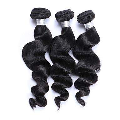 Brazilian Hair Loose Wave Human Hair Weaves 3 Pieces Natural Color Hair Weaves