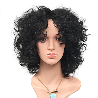 Syntetisk hår Parykker Afro Krop Bølge Med lugg Lokkløs Naturlig parykk Lang Svart