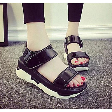 Women's Shoes Patent Leather Summer Comfort Sandals For Casual White Black Silver