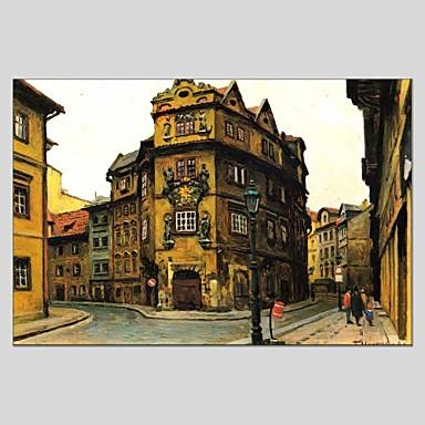 Pintados à mão Arquitetura Panorâmico horizontal, Abstracto Tela de pintura Pintura a Óleo Decoração para casa 1 Painel