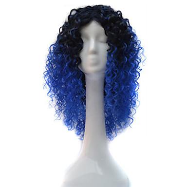 Naisten Synteettiset peruukit Suojuksettomat Lyhyt Keskikokoinen Sininen Afro-amerikkalainen peruukki Tummille naisille Cosplay-peruukki