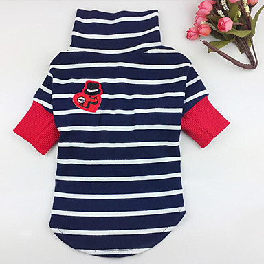 Dog Shirt / T-Shirt Dog Clothes Breathable Casual/Daily Stripe White Blue Costume For Pets