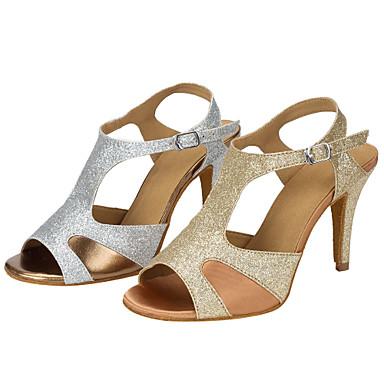 Mulheres Sapatos de Dança Latina Gliter Sandália Lantejoula Salto Agulha Personalizável Sapatos de Dança Dourado / Prata / Espetáculo