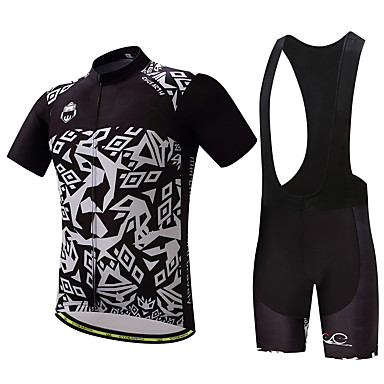 Men's Cycling Jersey with Bib Shorts Bike Clothing Suit, Quick Dry