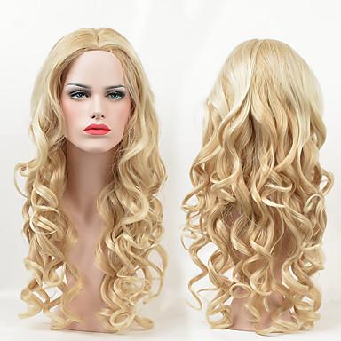 Synteettiset peruukit Runsaat laineet Vaaleahiuksisuus Naisten Suojuksettomat Luonnollinen peruukki Pitkä Synteettiset hiukset