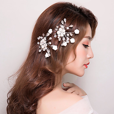 Gemstone & Crystal Tulle Crystal Imitation Pearl Hair Combs Headpiece with Crystal Feather 1 Wedding Special Occasion Birthday Graduation