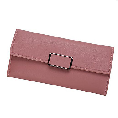 Women's Bags PU Checkbook Wallet for Casual All Seasons Chocolate Black Gray Pink