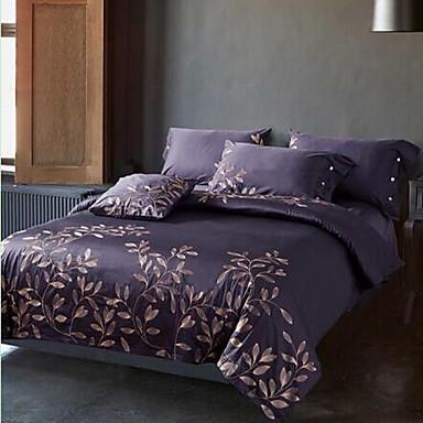 Embroidered 4 Piece Cotton Cotton 1pc Duvet Cover 2pcs Shams 1pc Flat Sheet