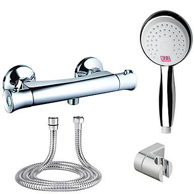Vaihtuva väri Moderni/nykyaikainen Vain suihku Mukana käsisuihku LED-merkkivalo Termostaatti Messinkiventtiili Kaksi reikää Kromi,