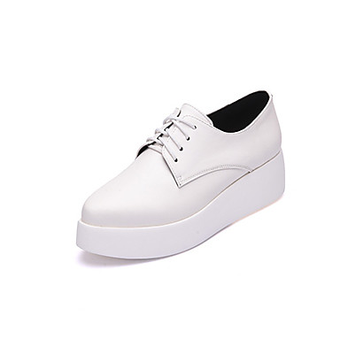 Women's Heels Light Soles Spring Fall Real Leather Casual Lace-up Split Joint Wedge Heel White Black 1in-1 3/4in