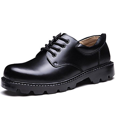 Men's Formal Shoes Leather Fall / Winter Preppy Oxfords Black / Party & Evening