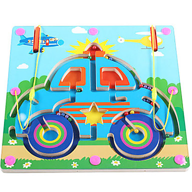 Toy Car Chess Game Maze Magnetic Maze Toy Flat Shape Magnetic Wood Iron Kid's Gift 1pcs