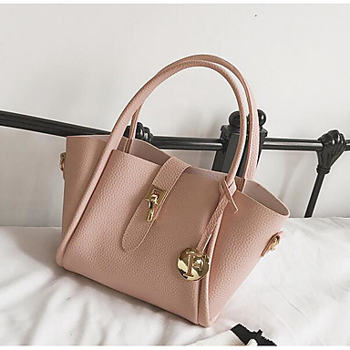 Women's Bags PU Tote for Casual Outdoor All Seasons Blue Black Red Pale Pink