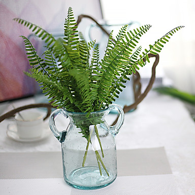 5 deler 5 Gren Silke Polyester Planter Bordblomst Kunstige blomster