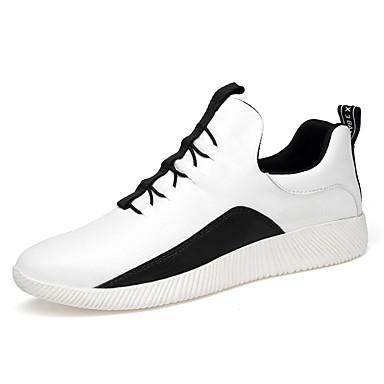 Homens sapatos Couro Ecológico Primavera Outono Conforto Tênis Caminhada Cadarço para Atlético Branco Preto