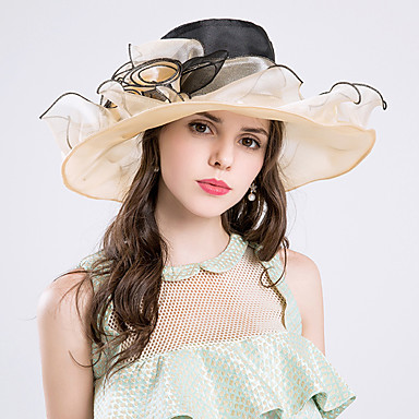 voordelige Hoeden-Zijde / Organza Kentucky Derby Hat / hatut met 1 Bruiloft / Speciale gelegenheden  / Feest / Uitgaan Helm