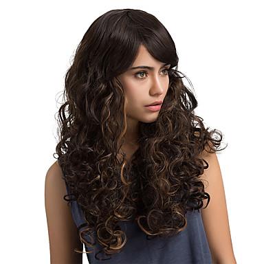 Synteettiset hiukset Peruukit Laineita Luonnollinen peruukki Pitkä Tummanruskea / Medium Auburn