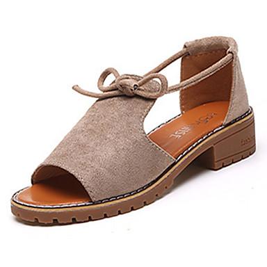 Women's Shoes PU Suede Summer Light Soles Comfort Sandals Walking Shoes Flat Heel Block Heel Round Toe Buckle for Casual Dress Black Pink