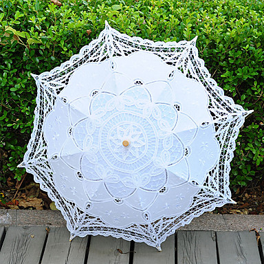Vintage Handmade Middle Size Lace Umbrella Wedding Parasol Costume Accessory Bridal Photograph