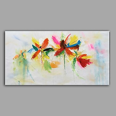 Hand-Painted Knife Oil Painting Flower Dragonfly Wall Art With Stretcher Frame Ready To Hang