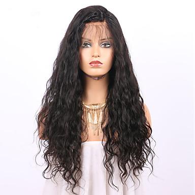 Remy-hår Blonde Forside Parykk Bølget 130% / 150% tetthet Naturlig hårlinje / Afroamerikansk parykk / 100 % håndknyttet Kort / Medium /