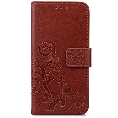 Capinha Para Samsung Galaxy J7 (2017) J3 (2017) Porta-Cartão Carteira Com Suporte Flip Com Relevo Capa Proteção Completa Flor Rígida PU