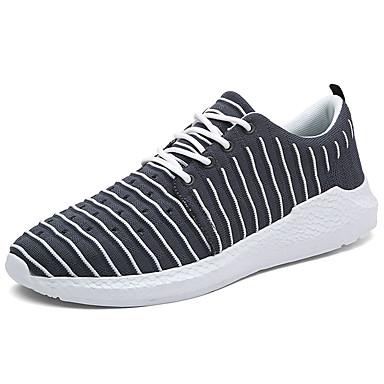 Homens sapatos Tule Primavera Outono Conforto Tênis Caminhada Cadarço para Casual Cinzento Verde Tropa Azul Preto/Verde