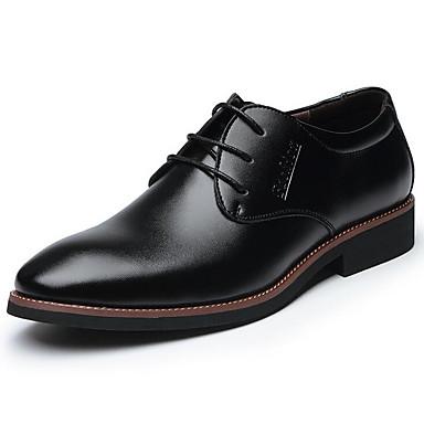 Męskie Buty Skóra Wiosna Jesień formalne Buty Comfort Oksfordki Szurowane na Casual Biuro i kariera Black Brown