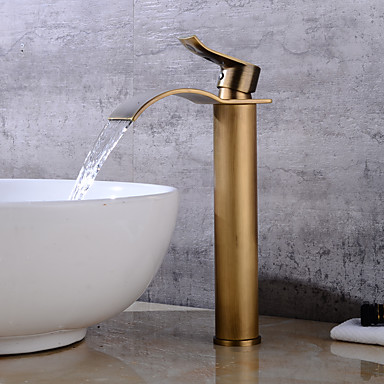 Kylpyhuone Sink hana - Vesiputous Antiikkikupari Integroitu Yksi reikä