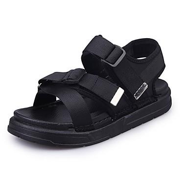 Naiset Sandaalit Comfort Synteettinen Kesä Syksy Kausaliteetti Comfort Palmikoitu hihna Tasapohja Musta Vihreä Tasapohja