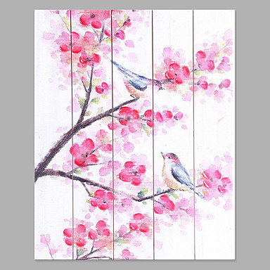 Hand-Painted Floral/Botanical Vertical, Fashion Canvas Oil Painting Home Decoration Five Panels