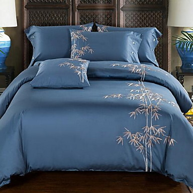 Embroidered 4 Piece 1pc Duvet Cover 2pcs Shams 1pc Flat Sheet