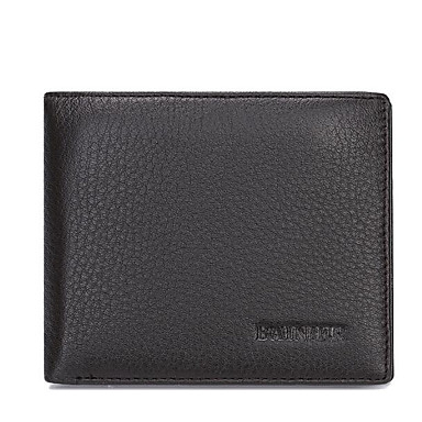 Men Money Clip Cowhide All Seasons Casual Square Fold-over Clasp Black